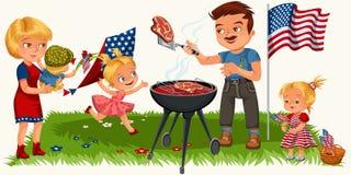 休息在公园或庭院,爸爸的家庭烤在格栅,抱着婴孩,女孩的妈咪的肉在与风筝的绿草使用和 库存例证