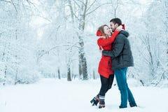 休息在公园的年轻夫妇 免版税图库摄影