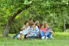 休息在夏天公园的家庭 免版税库存图片