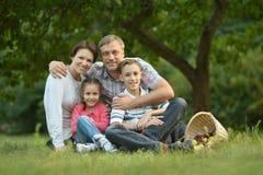 休息在夏天公园的家庭 库存图片