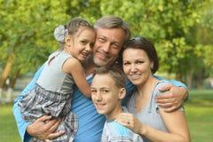 休息在夏天公园的家庭 免版税库存照片