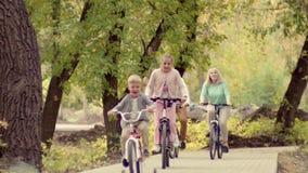 休息在有一个男婴的一个公园的地道愉快的家庭自行车的 在公园生活方式的早期的秋天 家庭 股票视频
