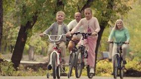 休息在有一个男婴的一个公园的地道愉快的家庭自行车的 在公园生活方式的早期的秋天 家庭 影视素材