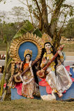 休息在树下的女神Saraswati神象 免版税库存照片