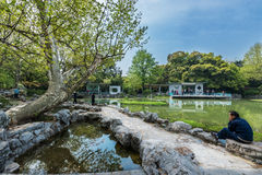 休息在福兴公园上海瓷的人们 免版税图库摄影