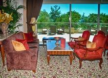 休息室在经典豪华旅馆里 库存照片