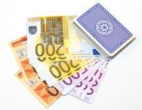 休息的卡片在金钱 免版税库存照片