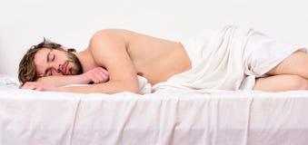 休息的时刻 睡觉并且放松概念 感到舒适并且放松 人帅哥睡眠 睡眠对您是重要的 免版税库存图片