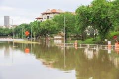 休斯敦街市洪水 库存照片