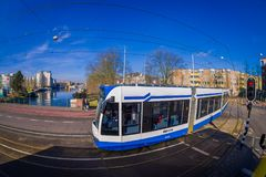 休斯敦,美国2018年3月10日:它由市政公众管理阿姆斯特丹电车的室外看法是电车网络 免版税图库摄影