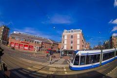 休斯敦,美国2018年3月10日:它由市政公众管理阿姆斯特丹电车的室外看法是电车网络 库存照片