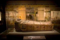 休斯敦,美国- 2017年1月12日:古埃及的美丽的石棺在自然科学国家博物馆  免版税库存照片