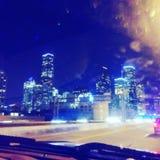 休斯敦,tx城市地平线在从我的破折号的晚上 免版税库存图片