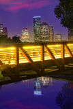 休斯敦从得克萨斯美国的日落地平线 免版税库存照片