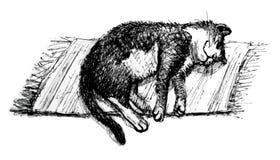 休眠猫 线艺术 库存例证