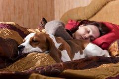 休眠的妇女和其狗 免版税图库摄影