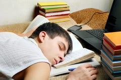 休眠的学员疲倦 免版税库存照片