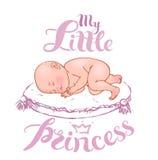 休眠的新出生的女婴 免版税库存照片
