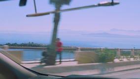 休达码头看法从汽车borderward Marocco的 股票录像