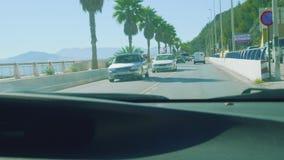 休达,西班牙-大约2017年11月:休达码头看法从汽车borderward Marocco的 股票录像