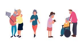 休闲和休闲资深活动概念 小组活跃老人 老人传染媒介背景 动画片 皇族释放例证