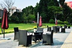 休闲椅子和桌在庭院里 库存照片