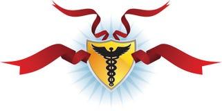 众神使者的手杖医疗丝带盾符号 图库摄影