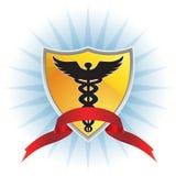 众神使者的手杖医疗丝带盾符号 免版税库存照片