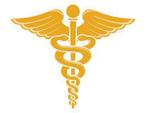 众神使者的手杖医疗符号 免版税库存图片