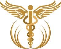 众神使者的手杖徽标 免版税库存图片