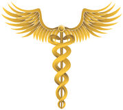 众神使者的手杖金子医疗符号 库存照片