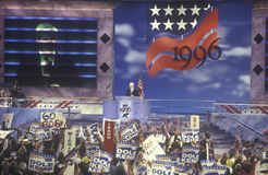 众议院议长纽特・金里奇在他的讲话中笑在1996共和党人国民公会在圣地亚哥,加利福尼亚 免版税库存照片