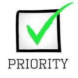 优先权壁虱显示正确标记和特选 库存例证