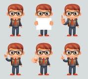 优秀学生天才学校聪明的巧妙的男孩一致的衣服风镜镜片书包另外行动3d动画片 库存例证