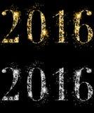 优等的闪耀的典雅的除夕2016年金银色金刚石 免版税库存照片