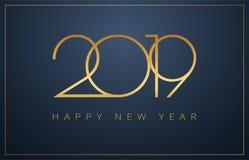 优等的2019年新年快乐背景 Christm的金黄设计 皇族释放例证