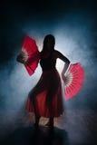 优美地跳舞在烟和雾的女孩的美丽的剪影 免版税库存图片