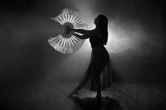 优美地跳舞在烟和雾的女孩的美丽的剪影 库存照片
