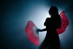 优美地跳舞在烟和雾的女孩的美丽的剪影 免版税库存照片