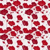 优美的红色无缝的花卉样式 向量例证