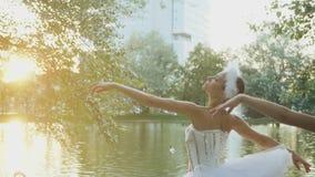 优美的芭蕾舞女演员在有天鹅的池塘跳舞 影视素材