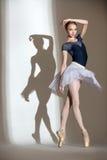 优美的芭蕾舞女演员的充分的成长画象 图库摄影