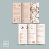 优美的花卉三部合成的小册子模板设计 库存例证