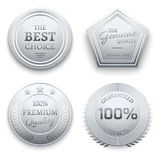 优美的银色金属优质传染媒介贴纸,标记,标签,徽章 库存例证