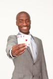 优胜突破美国黑人的生意人藏品 免版税图库摄影