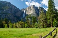 优胜美地瀑布在优胜美地国家公园 免版税图库摄影