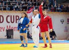 优胜者、埃琳娜Bondareva和塔蒂亚娜Osoianu 免版税图库摄影