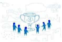 优胜者在庆祝配合成功剪影乱画的战利品第一个地方概念人小组附近的杯子商人 向量例证