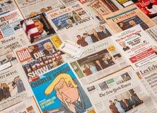 优胜者在Trum就职典礼报纸上的抽奖券 免版税库存图片