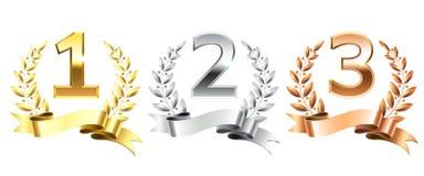 优胜者月桂树花圈 金黄月桂树为第一金子,被隔绝的第二个银色和第三个古铜色指挥台垫座缠绕 库存例证